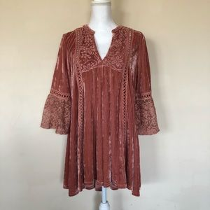 POL Pink Boho Embroidered Bell Sleeve Tunic Blouse